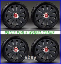 Black 16 wheel trims, Hub Caps to fit Fiat Punto, Doblo MK3, Scudo (NOT DUCATO)