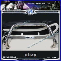 Fits FIAT DUCATO BULL BAR CHROME NUDGE PUSH A-BAR 1994-2006 DUCATO LOGO NXL1