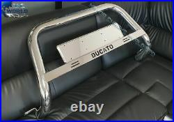 Fits To Fiat Ducato Bull Bar Chrome Nudge A-bar 2006-2018 Ducato Logo (nxl1)