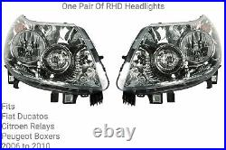 Pair of RHD Ducato, Boxer, Relay Headlights fitted from 2006 to 2010