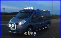 To Fit 14+ Fiat Ducato Stainless Front Flat Low Roof Light Bar + White LEDs