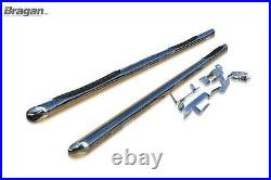 To Fit 2007-2014 Fiat Ducato SWB Side Bars Tapered End Stainless + Step Pads x3