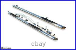 To Fit 2014+ Fiat Ducato MWB Stainless Steel Side Bars Tubes Skirt Step Pads