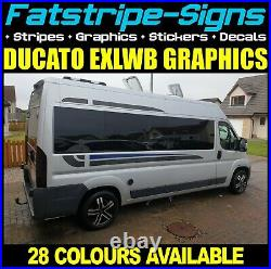 To fit FIAT DUCATO L4 EXLWB MOTORHOME GRAPHICS STICKERS STRIPES DECALS DAY VAN